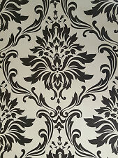Damask Black - Cream Feature Wallpaper 265662 CHEAP BARGAIN!