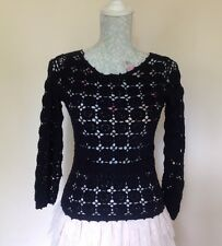 Laura Ashley Black Crochet Lace Knit Cotton Cropped Jumper UK Size 8 EU 34