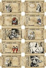 Alice in Wonderland 15 large party favors tea party tickets scrapbooking crafts
