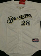 Mens Size 50 MLB Authentic Prince Fielder Milwaukee Brewers Baseball Jersey