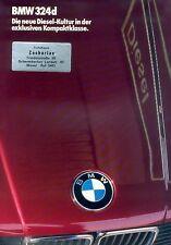 BMW 324d Prospekt 1/86 brochure Autoprospekt Auto Pkw car Deutschland Verkehr