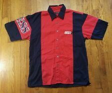 Guess Classics Racing shirt LARGE red black SPELL OUT button up VTG 90s Jeans