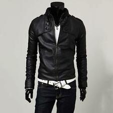Men's Fashion Stand Collar Slim Winter Motorcycle PU Leather Jacket Coat Outwear