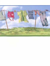 Laundry Room Clothesline Wash Clothes Line Blue Sky Wallpaper Wall Border