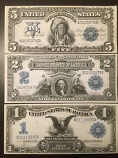 Reproduction Copies 1899 Silver Certificates $1, $2 Two Silver $,$5 Indian Chief