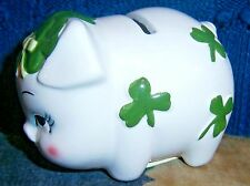 Vtg Lucky Shamrock Lefton piggy bank sweet little girl!