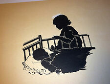 Antique Silhouette Painting - Adorable Children! Aged 3 years & 3 Months! Signed