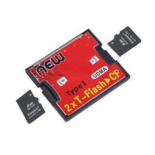 2 Ports TF SDHC to Type I 1 Compact Flash Card CF Reader Adapter JL