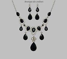 PARURE BIJOUX COLLIER+ BOUCLE D OREILLE SOIREE MARIAGE STRASS NOIR 58725
