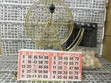 TABLETOP BRASS BINGO CAGE-WOOD BALLS & 2000 CARDS!