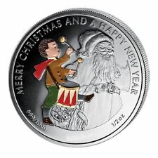 Liberia 2012 Large 1/2 OZ Silver Proof Color $2 Christmas/New Year-Drummer/Santa