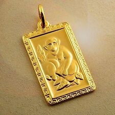 Fashion Mens Monkey Yellow Gold Filled Back Blessing Pendant fit Rope Necklace