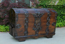 Antique English Oak LARGE Gothic Trunk Chest Coffer Box Domed Top Iron Hardware