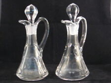2 Vintage Heisey? Paneled Heavy Blown Glass Cruets w etched Stoppers - Exec Con