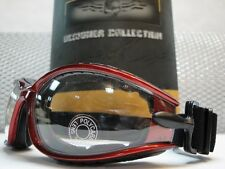 MOTORCYCLE BIKER PADDED Day or Night CLEAR LENS RIDING GLASSES GOGGLES Red Frame