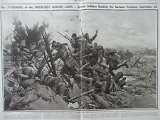 1915 STORMING TRENCHES AT LOOS GAS HELMETS ROLLED ON HEAD WWI WW1 DOUBLE PAGE