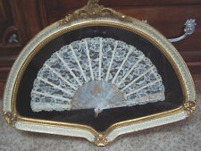 Custom Framed Antique Hand Fan Lace & Mother Of Pearl STUNNING elegant