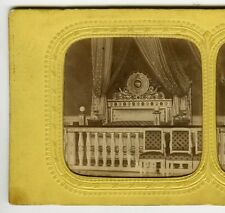 Stereoview Louis XIV Chambre Coucher Versailles 1860s French Tissue Coloring