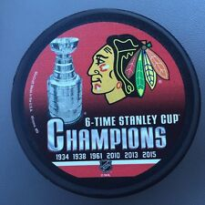 Chicago Blackhawks NHL 6 Time Stanley Cup Champions Puck 6X 2015 Rare New