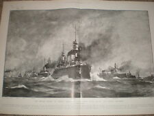 France navy The French Squadron Norman Wilkinson 1905 print Ref L