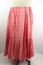 J. Jill 1X Pink Red Tie Dye Cotton Crinkle Gauze Full Boho Maxi Skirt Lined