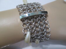 BRACELET FAUX PEARL SILVER TONE OPEN JUMP RING BAR DESIGN CHIC' DESIGNER STYLE