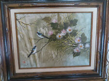 """Vintage Oriental Oil Painting """"Flowers and Birds"""" Signed"""