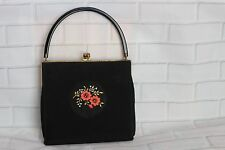 "VINTAGE 60s SMALL BLACK HANDBAG by Clarks 6.5"" x 7"""