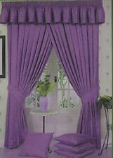 "90"" x 90"" PURPLE MARBLE EFFECT READY MADE FULLY LINED LUXURY HEAVY CURTAINS"