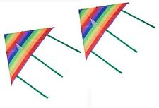 2 x Childrens Rainbow Kite Easy to Fly Single Line Fun Kids Toy Colourful