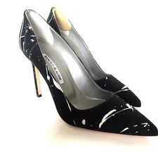 W-1167313 New Manolo Blahnik Black & White Fabric Gail Heel Marked Size 37 US-7