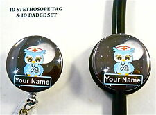 ID STETHOSCOPE & BADGE NAME TAG SET, NURSE OWL N BL.,MEDICAL,ER,ICU,CCU,NICU,RN