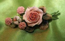 Stunning Artist Made Multiple Flower Pin Broach Corsage Pink, Lt.Blue,Greens