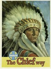 """POST CARD OF AN OLD TRAVEL POSTER FOR THE SANTA FE RAILROAD """"THE CHIEF WAY"""""""