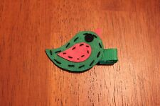 Green with Hot Pink Felt Bird Clip/hair bow
