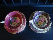 PARAGON FINE BONE CHINA TEA CUP AND SAUCERS GOLD AND PINK MUM FLORALS ENGLAND