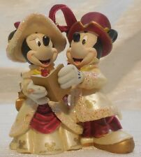 Vtg Disney christmas ornament Victorian Minnie Mickey Mouse caroling Beaded Gold