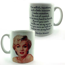 "MARILYN MONROE QUOTE GIFT MUG CUP ""DESERVE ME AT MY BEST"" NORMA JEAN MEMORABILIA"