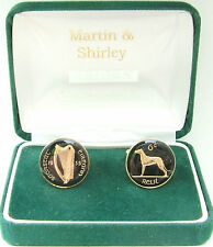 1935 IRISH Cufflinks made from old IRELAND Sixpence coins in Black & Gold