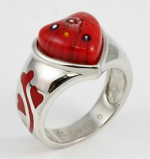 Sterling Silver Italy Murano Glass Red Heart Flower Ring Band Size 5.75