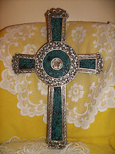 """Mosaic Blue Green Glass CROSS Wall Plaque 13-1/2"""" H Gift NEW IN BOX Large"""