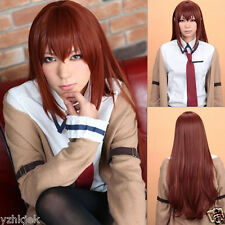 New Makise Kurisu Steins Gate Long Straight Anime Cosplay Party Hair wig