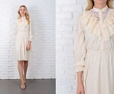 Vintage 70s Cream hippie Boho Dress Tiered Floral Lace Striped Small S