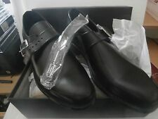 MENS LEATHER BLACK SHOES SIZE 8 NEW IN BOX SAMUAL WINDSOR SLIP ON WITH BUCKLE