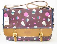 NEW-FOSSIL KEYPER MESSENGER TOTAL ECLIPSE CANVAS PVC PURPLE LAPTOP+CROSSBODY BAG