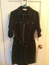 Michael Kors Black Zip Front Belted Shirt Dress Size L