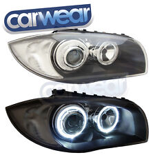 BMW E87/E88/E81/E82 1-SERIES BLACK WHITE LED ANGEL-EYE BLACK HEAD LIGHTS