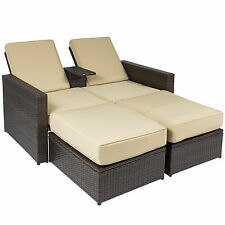 Outdoor 3pc Rattan Wicker Patio Love Seat Lounge Chair Furniture Multi Purpose