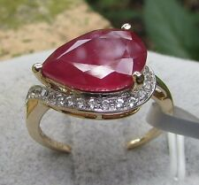5.37 cts Madagascan Ruby Solitaire Size 7 Ring in 10k Yellow Gold w/Zircon