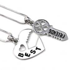 Valentine's Day Gift Love Lock & Key Best Friend Heart Necklace Pendant Charm q1